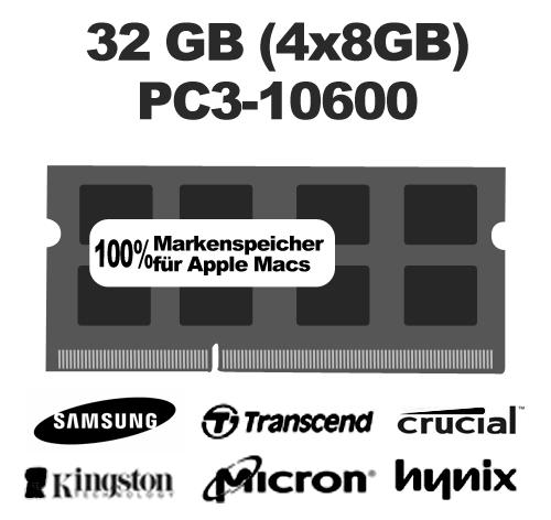 32 GB (4x8 GB) Kit PC3-10600 1333MHz Arbeitsspeicher Mac SO-DIMM